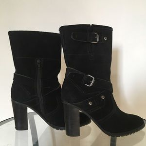 Crown Vintage Black Leather Suede Boots
